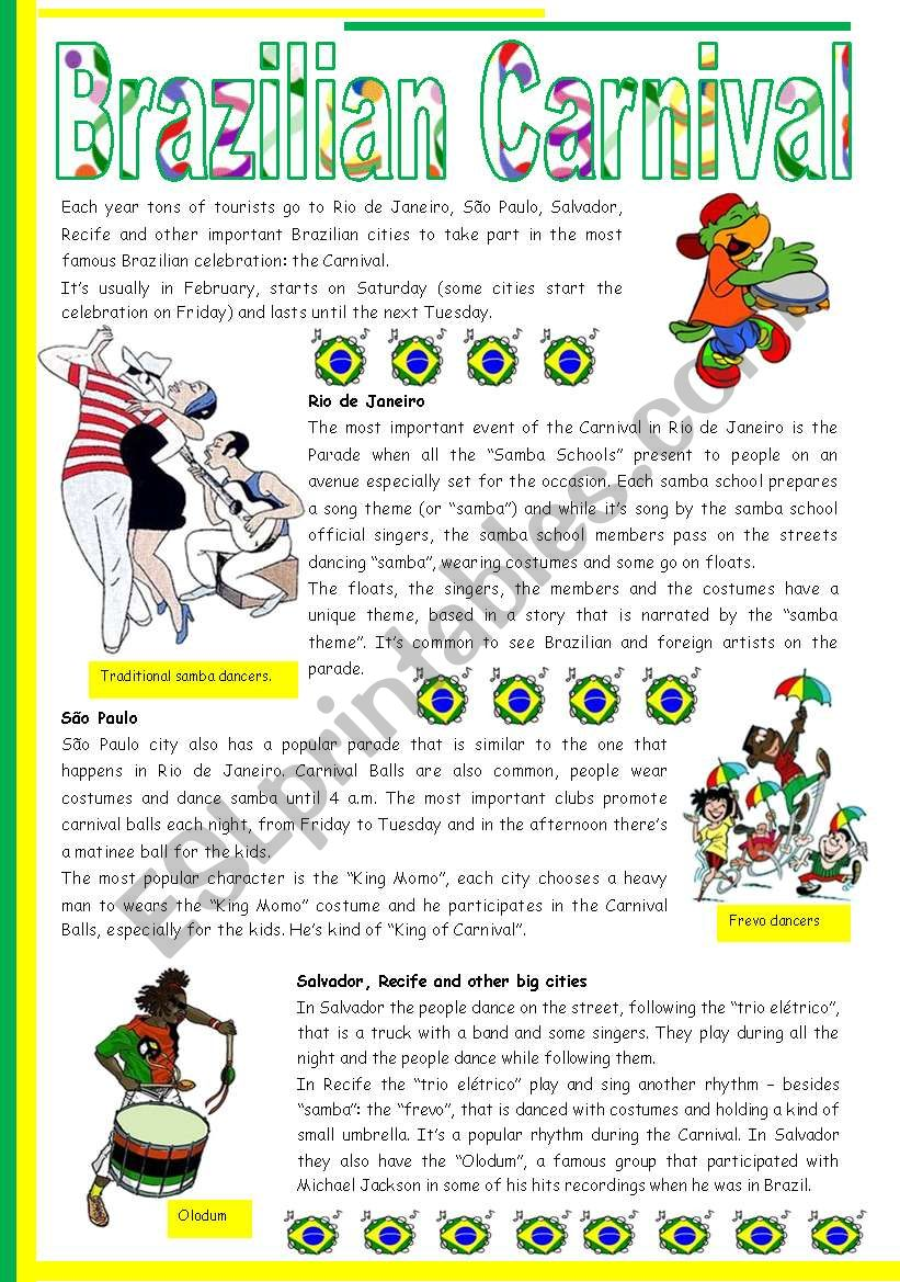 - Brazilian Carnival – Text, Pictures, Comprehension, Video Links